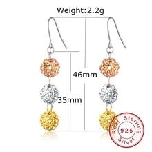 925 Sterling Silver Classic Charm Multi Colorful Long Dangle Earrings Women Fashion Shamballa Bohemian Jewelry 2016 New