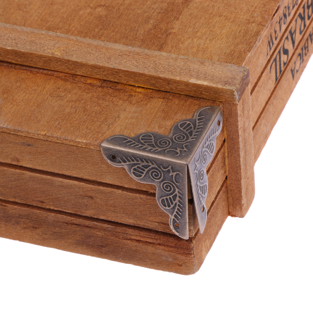 10 pçs/set Jóias Caixa de Presente Caixa De Madeira Tronco Furniture Hardware Gabinete Mesa Protetor de Canto Decoração Bronze Tone