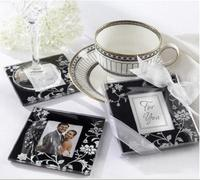 Wedding favours Black damasked and White Glass Photo frame Coasters birthday party favor and giveaways 100pcs=50 sets/lot