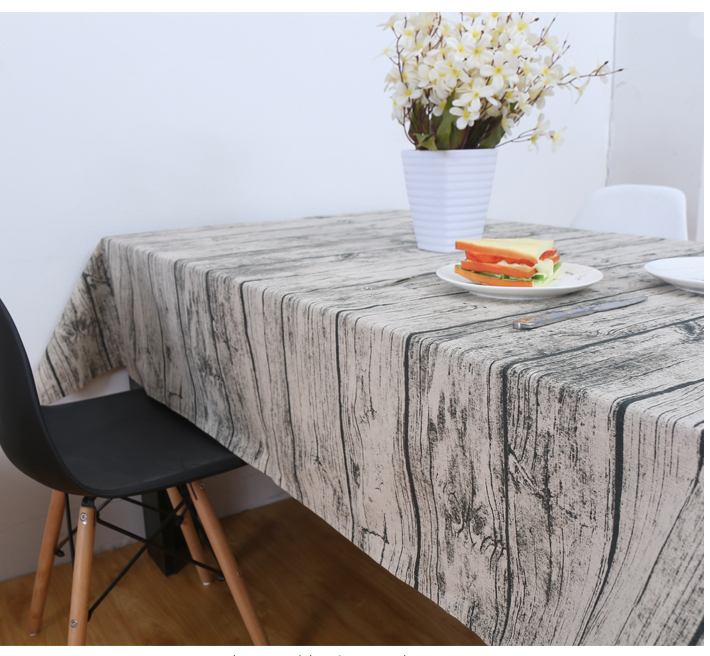 Wood square cotton simplicity garden table cover fabric board grain natural tablecloth Countryside rectangle dining in Tablecloths from Home Garden