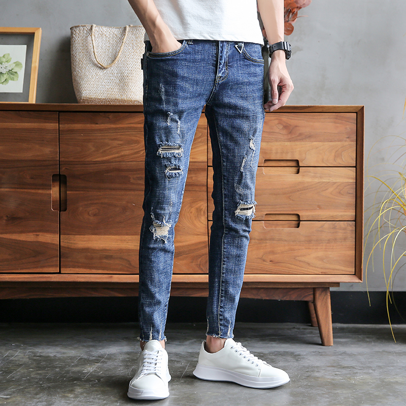 Brand Designer Summer Casual Jeans Men Fashion 2019 Denim Men Ripped Jeans Slim Fit Hip Hop Hole Men's Jeans Pants Streetwear 34