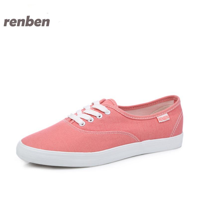 RenBen Women Canvas Shoes 2017 Fashion Flats women Casual White Shoes Breathable Canvas Lace up Candy colors Shoes 6e06 vintage embroidery women flats chinese floral canvas embroidered shoes national old beijing cloth single dance soft flats