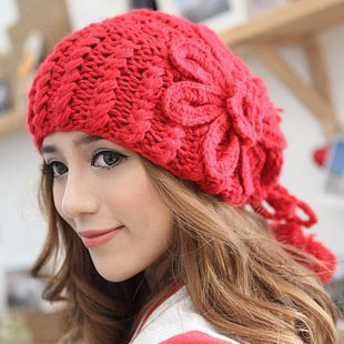 Autumn and winter warm beanie hats coarse knitted hat whith big flower women's Skull Knit Cap Hats Knitted