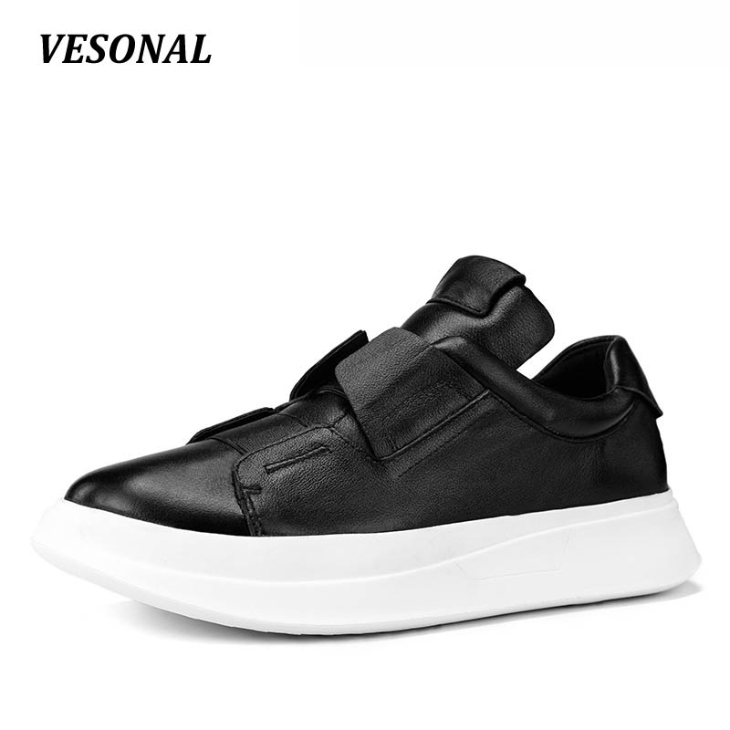 VESONAL Platform Luxury 100% Genuine Leather Men Shoes Male Footwear Mens Casual Shoes Fashion Designer Breathable SD0786 vesonal 2017 quality mocassin male brand genuine leather casual shoes men loafers breathable ons soft walking boat man footwear