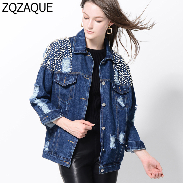cbeb26a417 2018 New Female's Top Quality Heavy Beading Pearl Washed Denim Jacket  Fashion All-match Style