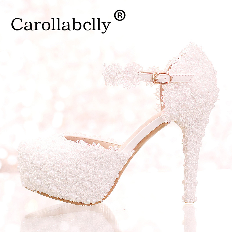 Carollabelly Sweet Flower Women Pumps High Heels Lace Platform Pearls rhinestone Wedding Shoes Bride Dress Shoes Summer Sandals sweet girls pink rhinestone and ivory pearls diamond wedding high heels shoes graduation ceremony party pumps drop shipment