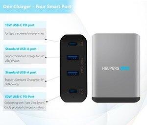 Image 3 - Chargeur de voyage double type c PD, avec 2 ports USB USB C PD et 2 ports USB 5V, 2,4 a, Compatible avec la plupart des USB C ordinateurs portables et téléphones, comme DELL XPS