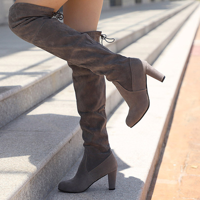 Women Winter Over The Knee Boots Female Fashion Slim Embroider Square Thigh High Heels Ladies Faux Suede Plus Size Shoes