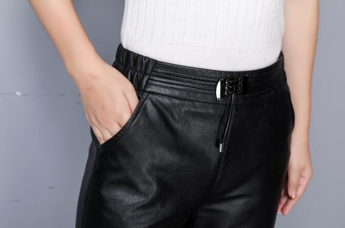 Mince Mouton Black Pantalon Peau Lâche Jambes Cuir À De Hiver Haute Femmes Vrai Automne Spectacle Nouveaux En Taille Minutes Sept Larges Pantalons qxBWTp