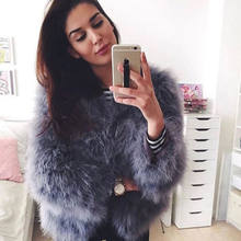 100% Hand-Made Fluffy Feather Fever Fur Jackets Knitted Genuine Ostrich Fur Coat Women Retail Wholesale Grey fluffy fur fever(China)
