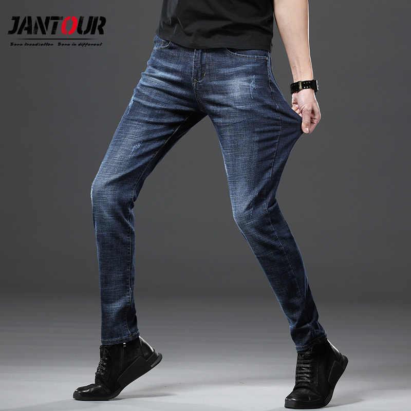 Jantour 2019 новые мужские классические джинсы Брендовые прямые мужские джинсы облегающие модные потертые дизайнерские байкерские брюки мужские подходят синие обычные