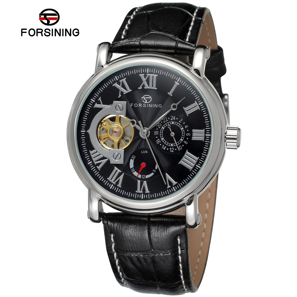 цена на FORSINING Men Luxury Brand Roman Number Genuine Leather Tourbillon Automatic Mechanical Wristwatches Gift Box Relogio Releges