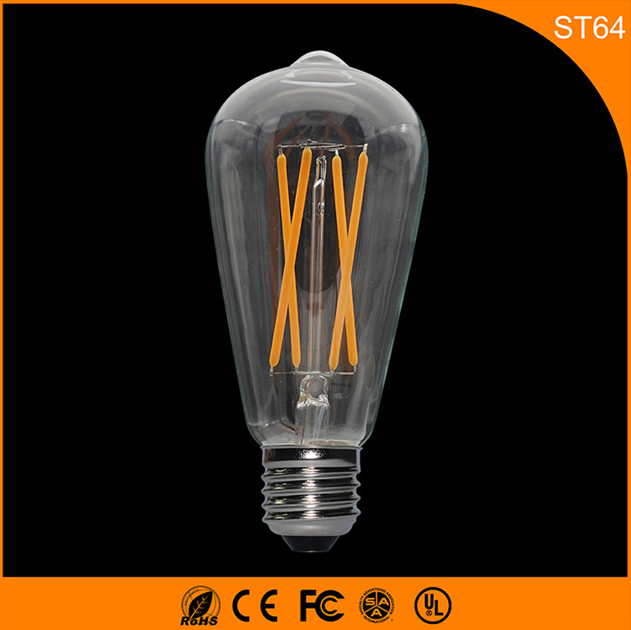 50PCS Retro Vintage Edison E27 B22 LED Bulb ,ST64 4W Led Filament Glass Light Lamp, Warm White Energy Saving Lamps Light AC220V 5pcs e27 led bulb 2w 4w 6w vintage cold white warm white edison lamp g45 led filament decorative bulb ac 220v 240v