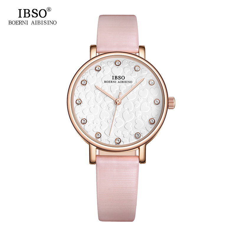 IBSO Women Watches 2018 3D Heart-shaped Pattern Dial Ladies Watch Genuine Leather Strap Pink Quartz Watch Women Montre Femme heart shaped hollow alice in wonderland drink men tag pocket watch women ladies luxury pendant gift bronze fob watches
