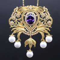 10Colors Vintage Style Platinum Gold Pated Pearl AAA Zircon Wedding Party Brooch Pendant Multiple Use Clothes