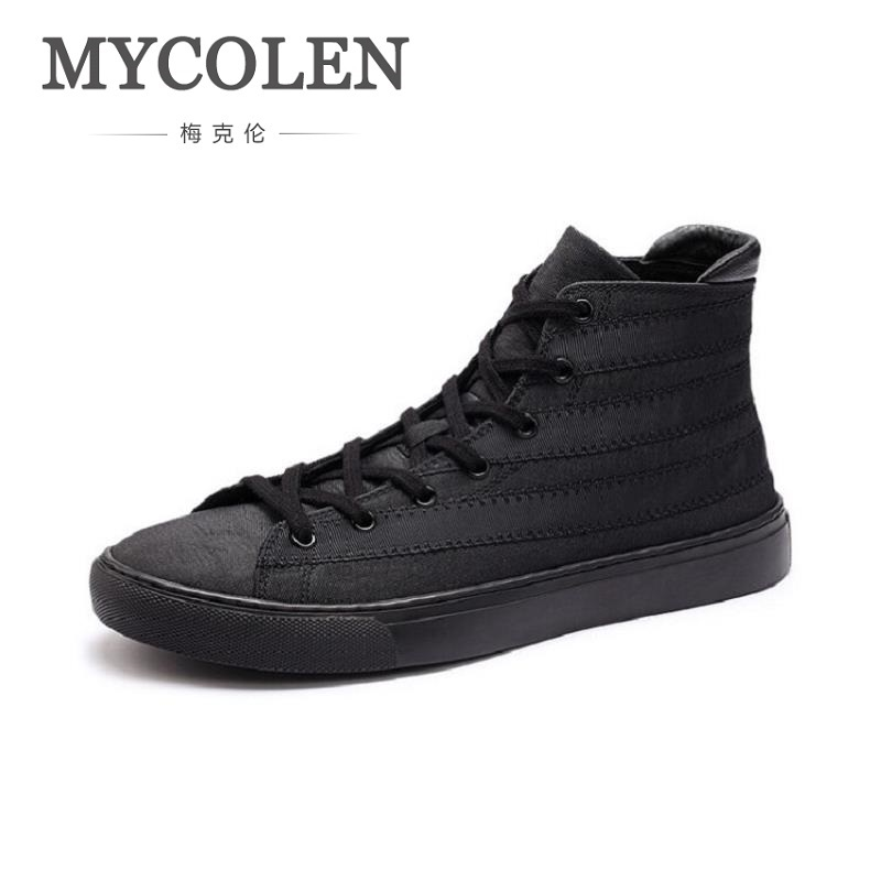 MYCOLEN Men Shoes Men Black Casual Shoes Breathable Lace up Flats 2018 New Fashion Male Footwear Plimsolls Espadrilles 2017 new spring autumn men casual shoes breathable black high top lace up canvas shoes espadrilles fashion white men s flats