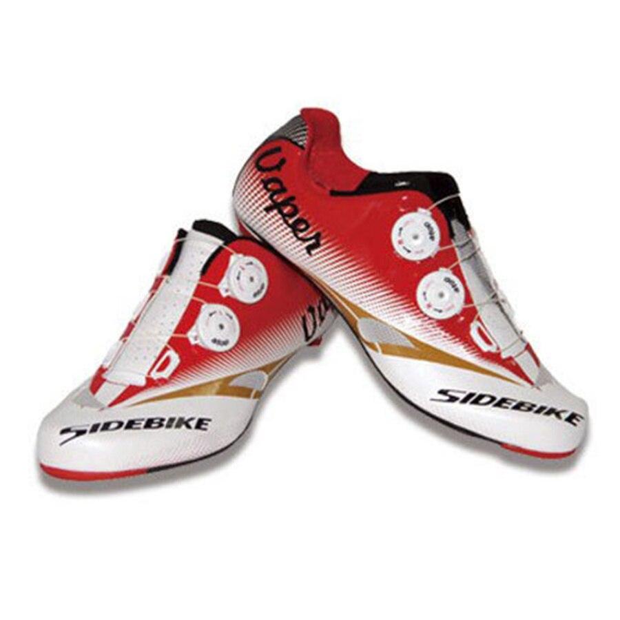 2017 Hot SIDEBIKE Carbon Fiber Road Cycling Shoes Highway Lock Mens Athletic Bike Bicycle Sneaker Self-locking Road Bike Shoes