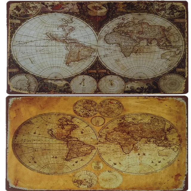 Retro World Map Vintage Retro Plate Metal Tin Signs Wall Decor