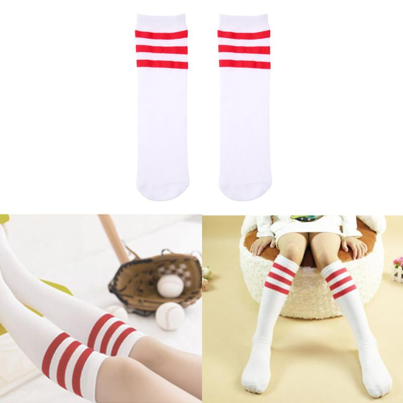 Kids Knee High Socks Spring Autumn Warm Cotton Football Stripes Children Stockings Sports School Style Boy Girl Students Socks kimocat boy and girl high quality spring autumn children s cowboy suit version of the big boy cherry embroidery jeans two suits
