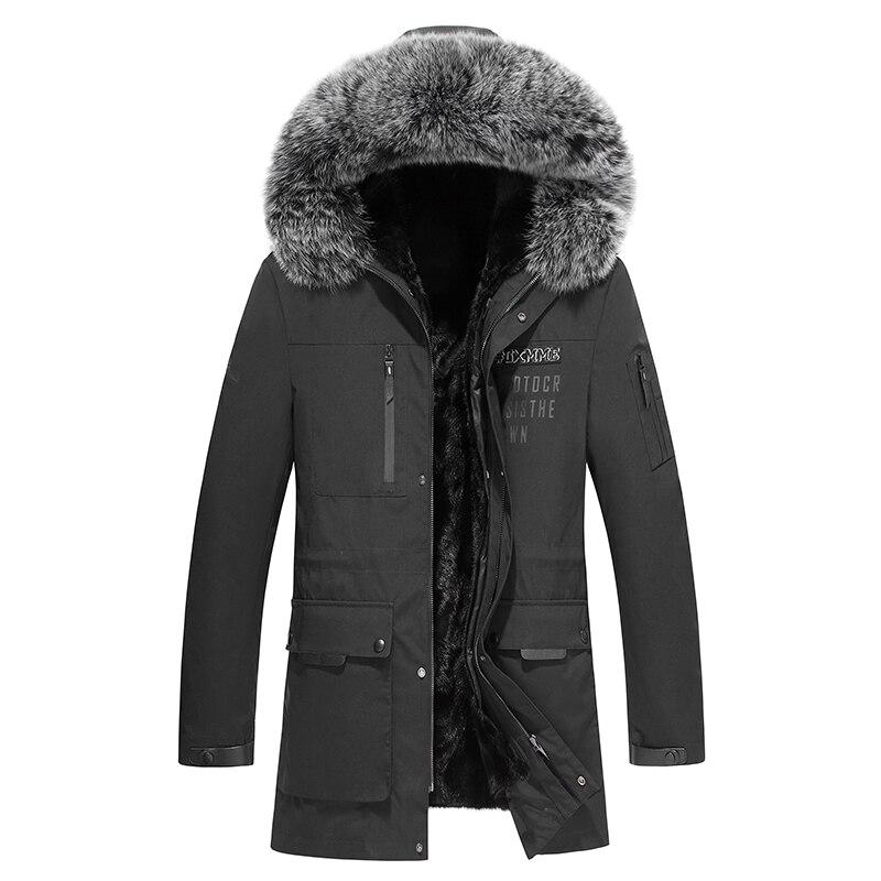 Шуба из натуральной норки, куртка с натуральным мехом, мужская куртка с воротником из лисьего меха для русской зимы