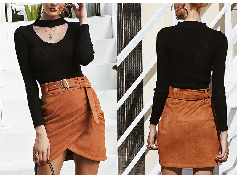 Affogatoo High waist suede leather skirts 18 Autumn winter belt ruched bodycon skirt Women asymmetric short skirts female 5