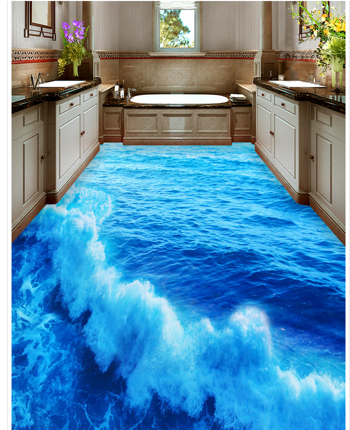 . US  34 0  3d customized wallpaper Home Decoration Sea washroom bathroom  bedroom 3d flooring pvc self adhesive wallpaper in Wallpapers from Home