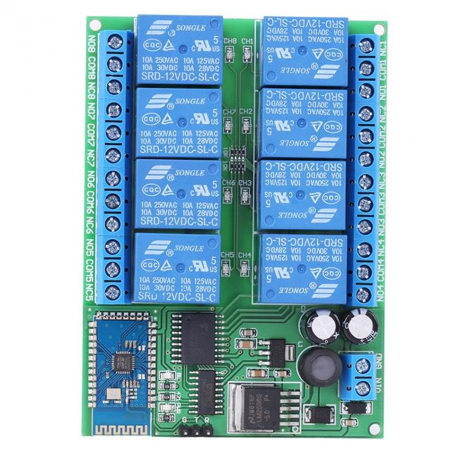 US $31 5 |12V 8 Channel Bluetooth Relay Module Remote Control Switch Board  for Android Remote Control Relay-in Relays from Home Improvement on