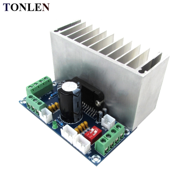 Best Offers TONLEN 40W*4 Car Power Amplifier Board TDA7388 12V 2/4 channel Car Amplifier with Heat Sink HIFI AMP Module Stereo Amplifiers