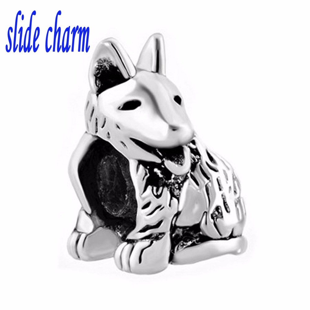 slide charm Free shipping Pet German shepherds beads fit Pandora charm bracelet is the mother lover Christmas gift