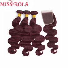 Miss Rola Hair Pre colord Malaysian Body Wave Hair Weaving 3 Bundles With Closure 99J Color