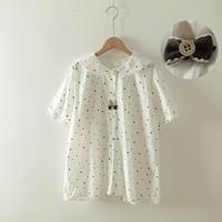 Bow buttons kawaii peter pan collar polka dots short sleeve shirt 2019 summer