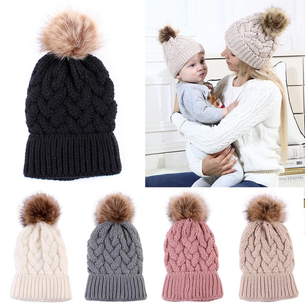 1 Stück Mode Frauen Damen Winter Warm Stricken Hut Wolle Chunky Knit Mit Pelz Pom Beanie Hut Kappe Outdoor Stretch Einfarbig Ski Cap
