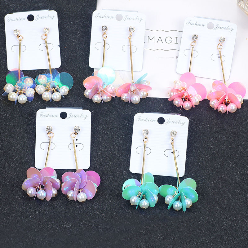 2018 Korean sweet mermaid scales long earrings exaggerated sequins pearl earrings for women girls fashion jewelry accessories