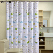 цена на Bubble fish polyester sea shower curtain Waterproof Fabric anime Bathroom Curtain With 12pcs Curtain Hooks Rings
