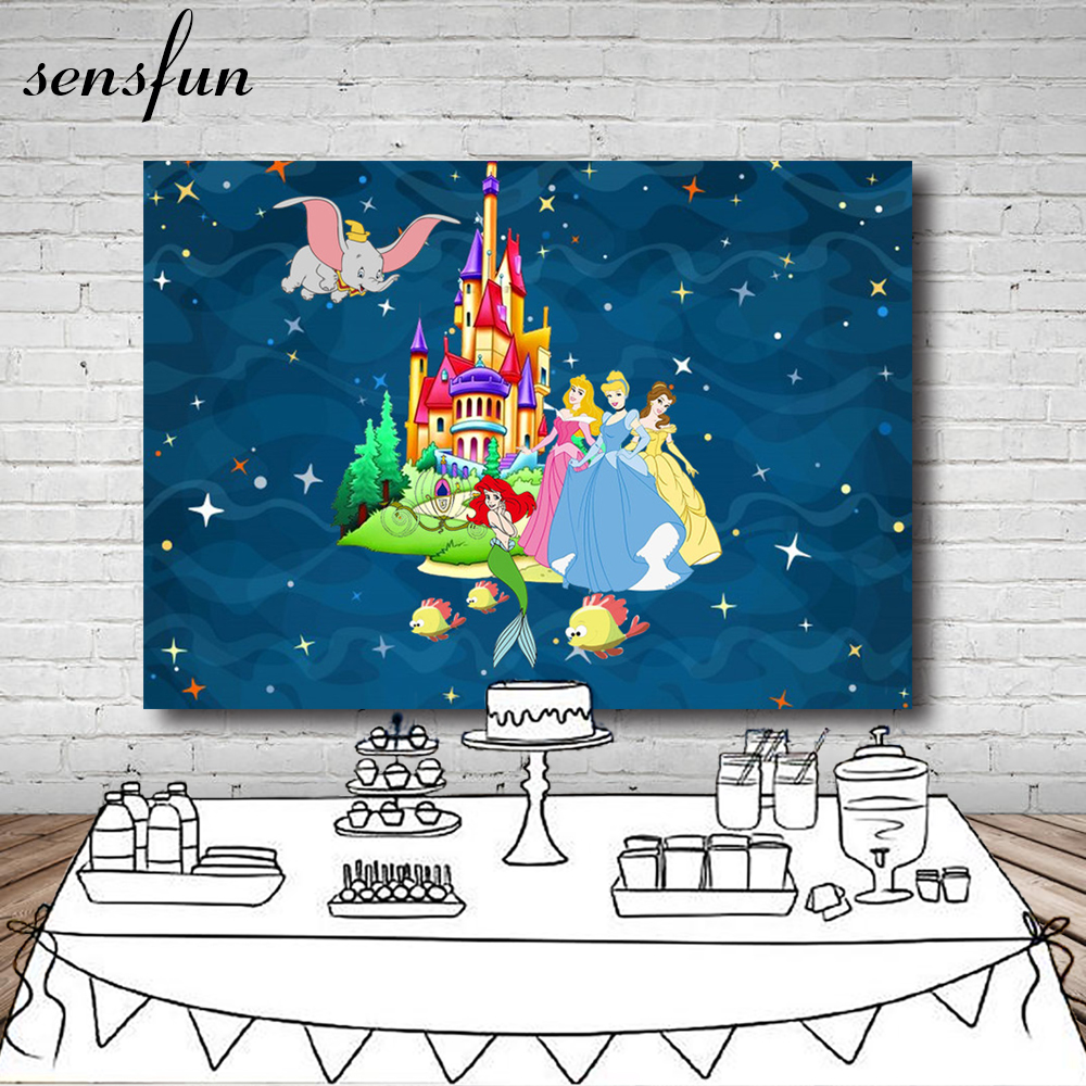 Castle Princess Little Mermaid Dumbo Stars Girls Birthday Backdrop Invitate Celebrate Party Table Banner Backgrounds Photocall
