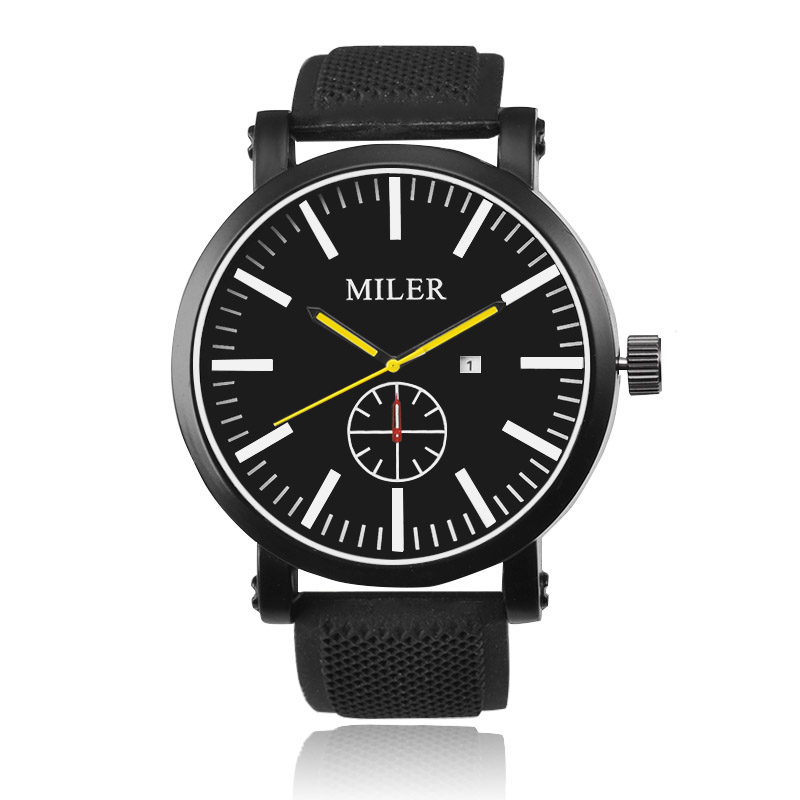 2016 MILER Luxury Brand Silicone Strap Analog Men's Quartz-Watch Auto Date Clock Fashion Sports Watch Men Military WristWatch 60%off fashion silicone bracelet watch olevs men classic design military watches quartz auto date diver sports wristwatch 2017
