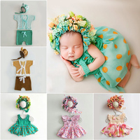 Newborn Baby Photography Headband Hat+Rompers Clothes Sets Props Baby Girl Boy Photo Shooting Outfits Custome bebe fotografia