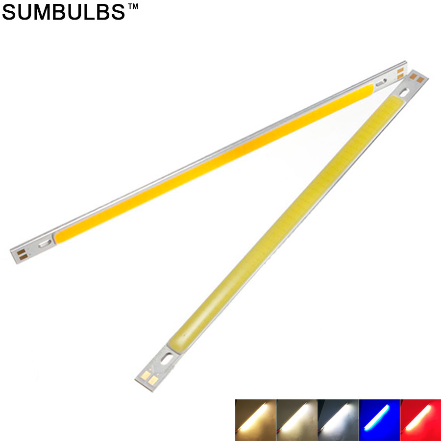 Sumbulbs 200*10MM Warm Natural Cold Blue Red Green COB LED Bar Light Strip 10W DC12-14V 20CM 1000LM for DIY Car Lights Bulb Lamp 120mmx36mm warm white pure white cob led strip lamp lights bulb 10w 1000lm super bright 12v 24v for diy high quality