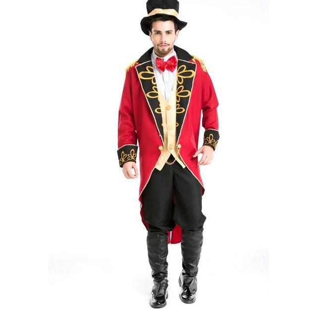 New Cool Red Male Adults Halloween Cosplay Costume British Royal Earl Role play Noble Tail Coat Magician stage wear A155813