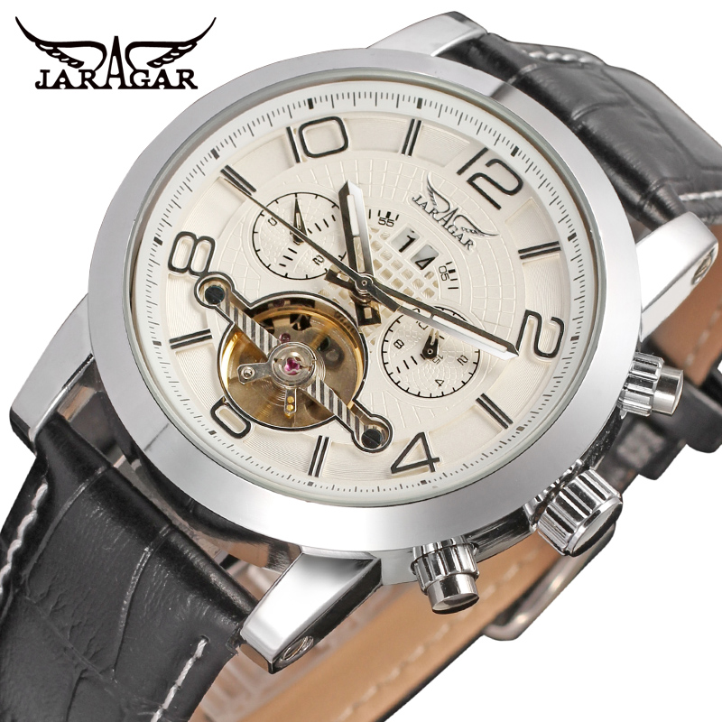 Jargar new Automatic fashion dress watch tourbillon silver color for men crazy sales shipping free JAG165M3S1 все цены
