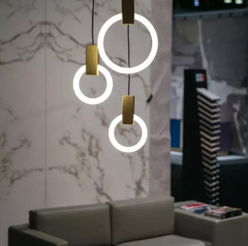 Post-modern Loft Concise Dining Room Pendant Light Art Creative Gold Circle Loop Restaurant Bedroom Office Decoration LED LampPost-modern Loft Concise Dining Room Pendant Light Art Creative Gold Circle Loop Restaurant Bedroom Office Decoration LED Lamp