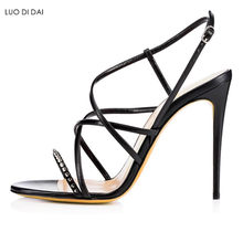 8f12f96f0df 2018 fashion women open toe sandals gold rivets high heels party shoes  buckle strap sandals dress shoe sexy spike stud sandals