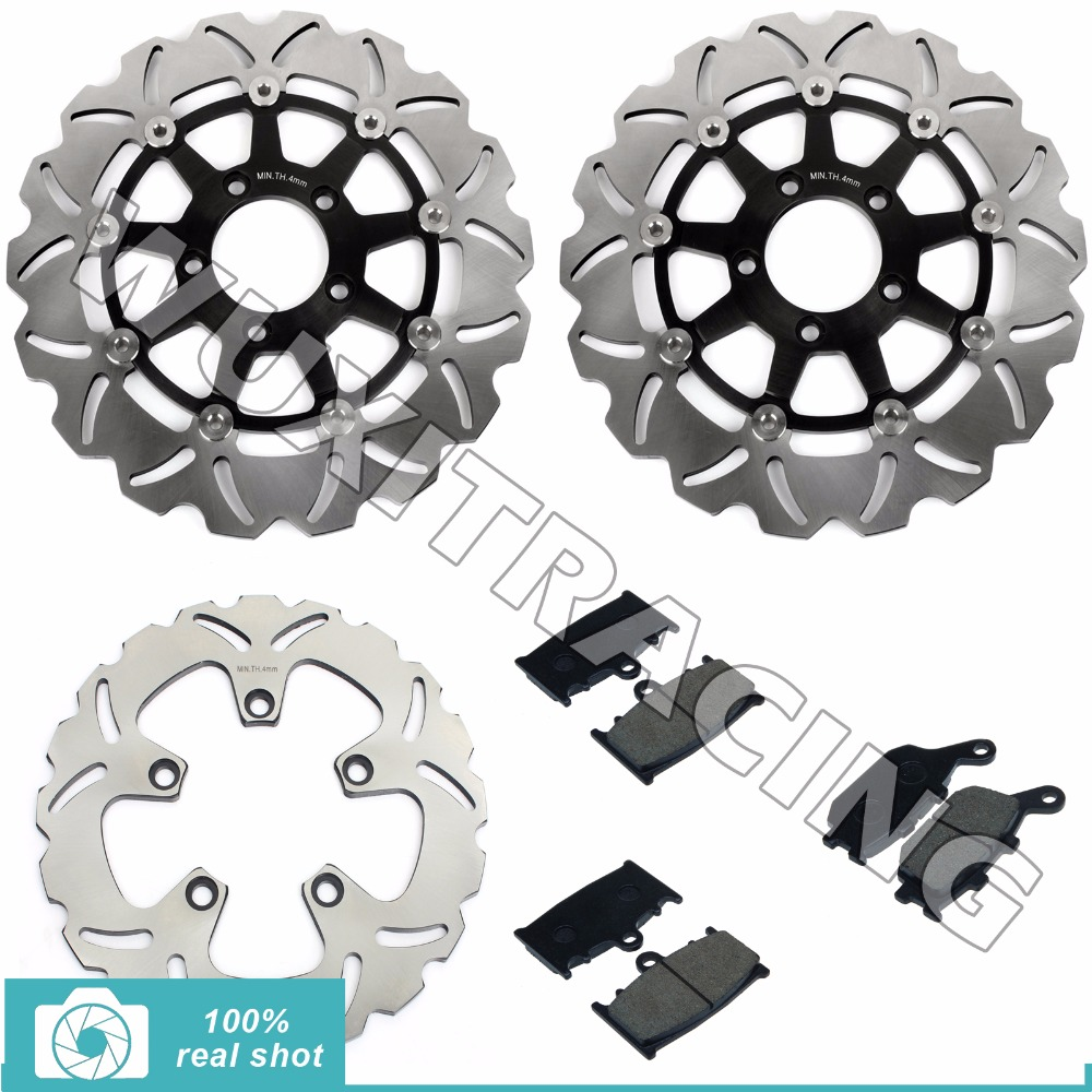 310mm Motorcycle New Full Set Front Rear Brake Discs Rotors +Brake Pads for SUZUKI SV 1000 SV1000 2003 2004 2005 2006 2007 03-07 for suzuki sv400 2003 2013 sv650 2003 2005 dl650 2004 2014 dl1000 2002 2010 motorcycle front and rear brake pads set