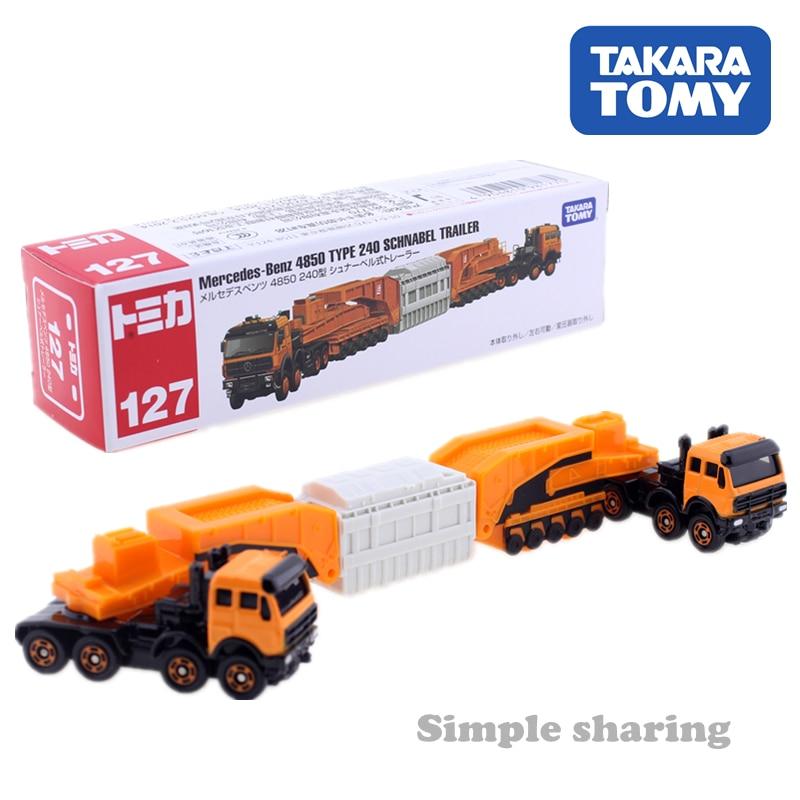 Tomica No.127 Mercedes Benz 4850 Type 240 Schnabel Trailer Takara Tomy Metal DieCast Trail Car Model Kit Tow Truck Kids Toys