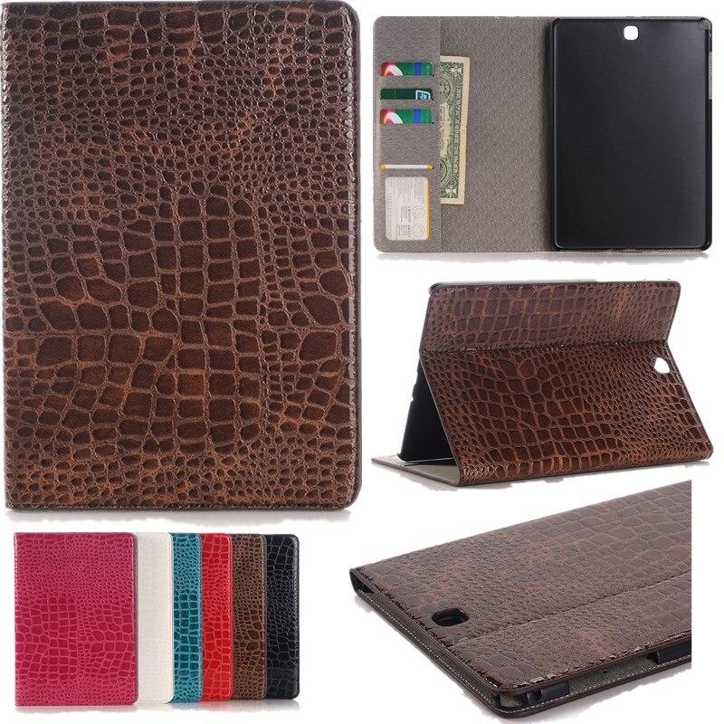 Luxury Crocodile Pattern Leather Case For Samsung Galaxy Tab A 9.7 T550 T555 Case For Samsung Tab A P550 P555 + Stylus + Film