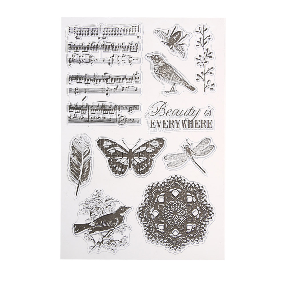 Vintage Transparent Silicone Clear Stamps for DIY Scrapbooking Photo Album Card Making Template Embossing Stamp Sheet lovely animals and ballon design transparent clear silicone stamp for diy scrapbooking photo album clear stamp cl 278