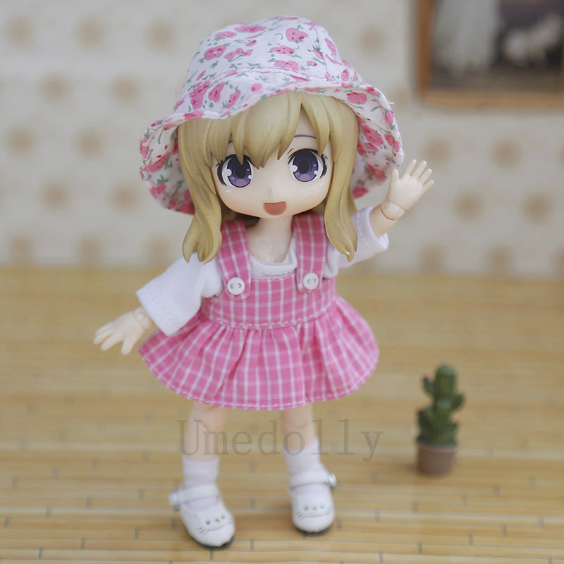 1 Set Lovely OB11 Doll Plaid Outfits (Dress + T-Shirt + Socks + Hat) For Obitsu 11, 1/12 BJD, GSC Doll Clothes Accessories