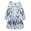4-12 Años Nuevos Niños Retro Impresa Flor Vestidos de Princesa para Las Niñas Vintage Party Dress Kids Clothes Completas Teenger ropa
