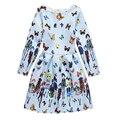 4-12 Anos Crianças Novo Flor Retro Impresso Vestidos de Princesa para As Meninas Do Vintage Vestido de Festa Crianças Roupas Completos Teenger roupas