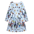 4-12 Years New Children Retro Printed Flower Princess Dresses for Girls Vintage Party Dress Kids Full Clothes Teenger Clothing